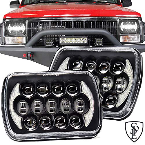 SPL 105W Brightest 5''x7''/7''x'6'' Projector Cree Led Headlights with DRL for Jeep Wrangler YJ Cherokee XJ H6054 H5054 H6054LL 69822 6052 6053 Toyota Pickup(Black Pair)
