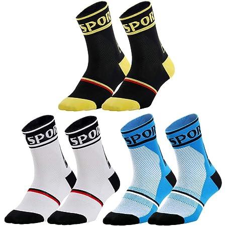 nuoshen - 3 pares de calcetines deportivos, unisex, transpirables, para hacer ciclismo, senderismo, correr