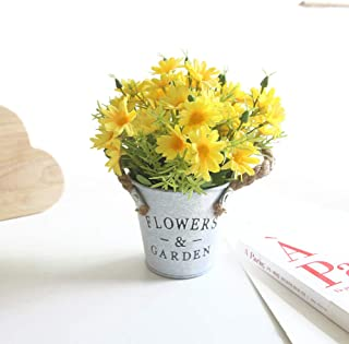 Charmly Artificial Flowers Potted European Style Design Silk Daisy Arrangements Bonsai House Office Restaurant Table Centerpieces Windowsill Decor Daisy-Spring Yellow