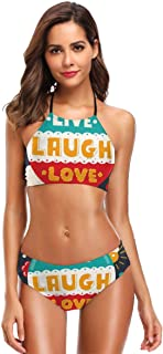 K0k2t0 Women's Printing High Neck Halter Two Piece Bikini Swimsuits,Colorful Cartoon Style Air Balloon Wise Phrase Dream Emotion Hipster Style