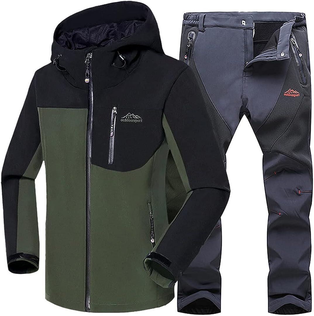 Mens Hiking Waterproof Windproof Warm Softshell Fleece Jackets And Pants Outdoor Trekking Climbing Ski Trousers