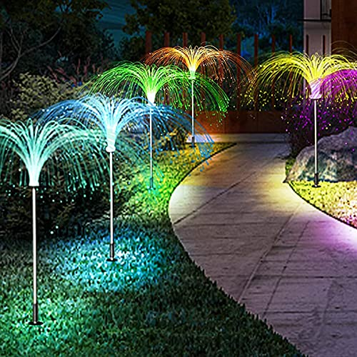 Chipark Solar Lights Outdoor Garden, Jellyfish-Shaped 5LED 7Colors Garden Ornaments Light, Solar Waterproof Fairy Pathway String Light, for Lawn Terrace Wedding Party Decoration