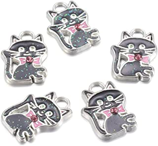 Craftdady 5Pcs Alloy Enamel Black Cat Charms with Rhinestone 19x14mm DIY Jewelry Necklace Earring Bracelet Craft Making Animal Pendants with 3mm Hole