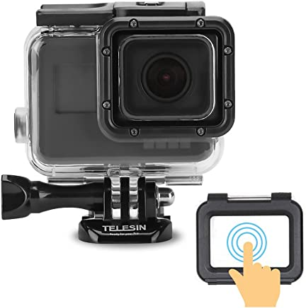 TELESIN 45M Underwater Protective Housing Shell Transparent Waterproof Case with Touch Screen Backdoor for GoPro Hero 2018, Hero 7 Hero 6 Hero 5 Black Camera Case Accessories