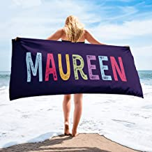 Personalised embroidered  strips beach towel cotton