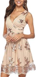Women's Lace Patchwork Sleeveless Floral Print Deep V Neck Mini Dress