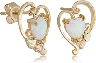 Landstroms Black Hills 10k Gold Opal Earrings with 6 X 6 MM Lab created Opal and 12k Gold Leaves