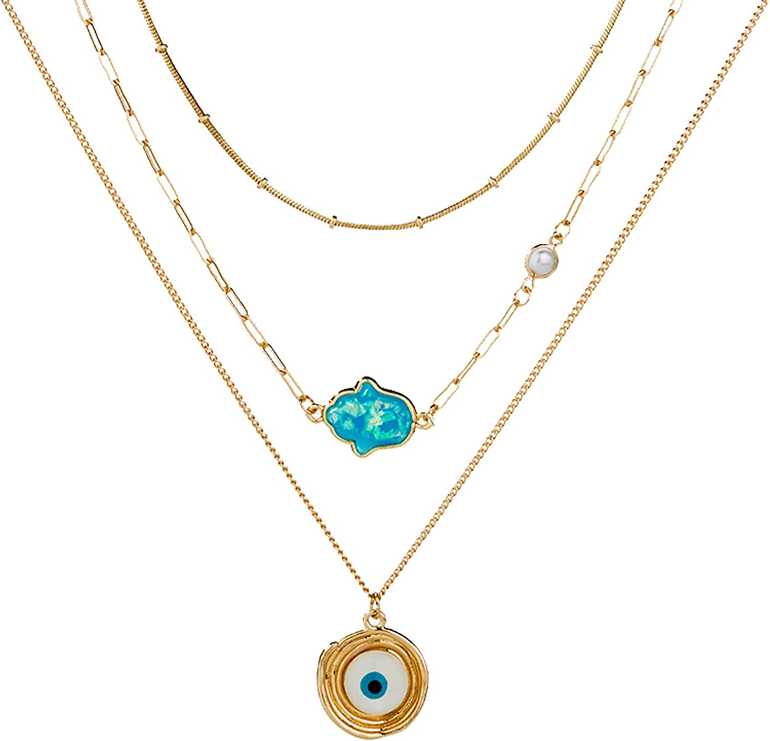 Evil Eye Layered Necklaces Blue Hamsa Paperclip Chain Choker Necklace Gold Plated Fashion Jewelry for Women Girls Good Luck Gifts