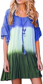 Gocgt Women's Casual Gradient Color Crew Neck Short Sleeve Ruffle Dress Swing Dress