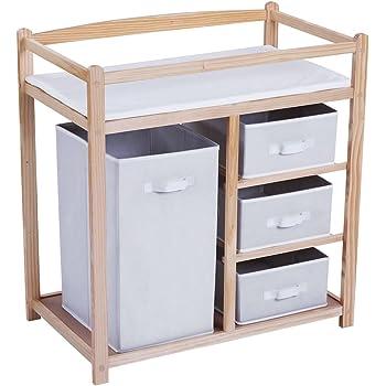 Infantastic - Table à Langer en Bois - 1 Grande boîte - 3 Petits tiroirs - avec Coussin à Langer en Mousse