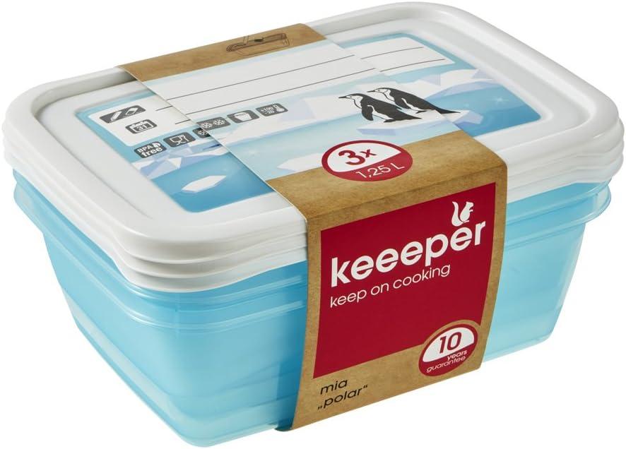 keeeper MIA Polar Botes para Alimentos, PP, Ice Blue (Transparent), 3X 1,25 l, 3 Unidades