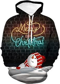 GREFER-Mens Hoodies Pullover Christmas Patterns 3D Lightweight Sweatshirts Classic Crewneck Tops Plus Size