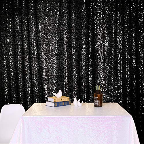 Poise3EHome 4FT x 6.5FT Sequin Photography Backdrop Curtain for Party Decoration, Black
