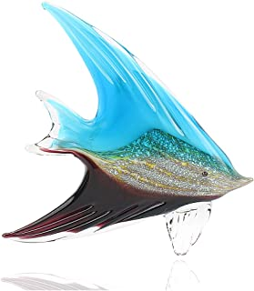 Hophen Art Glass Tropical Angel Swallow Fish Blown Handmade Sea Animal Figurine Sculpture Home Decor Collectible Statue Paper Weight Gift Ornament (Blue and Black)