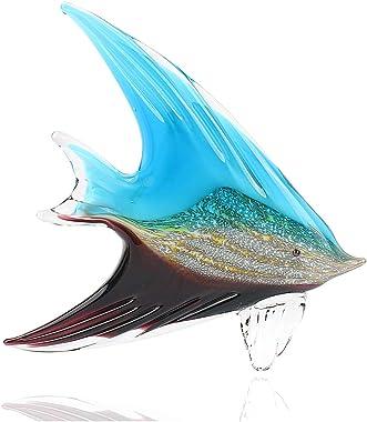 Hophen Art Glass Tropical Angel Swallow Fish Blown Handmade Sea Animal Figurine Sculpture Home Decor Collectible Statue Paper