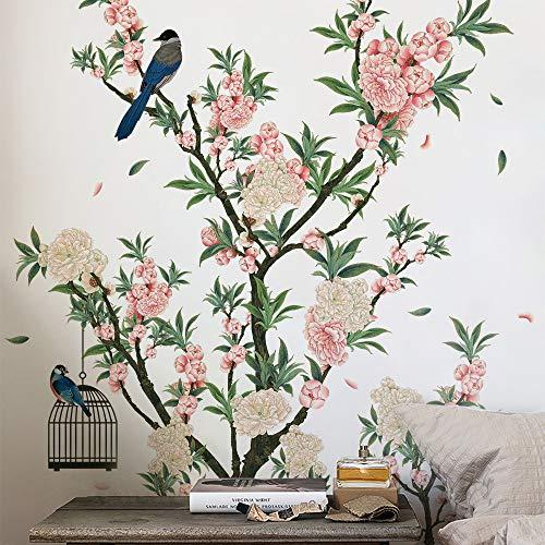DERUN TRADING Vinilo decorativo Flor albaricoque y pájaro, Pegatinas de Pared Pequeña ave Vinilo Adhesivo para Cristal Flores Vinilo Ventana Dormitorio Sala Oficina Hotel