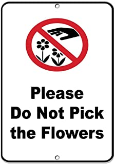 """Kathelgyn Metal Tin Sign Wall Decor Do Not Pick The Flowers Security Sign Room for Outdoor Indoor Aluminum Sign 11.8""""x7.8"""""""