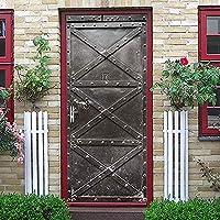 ドア壁画ウォールステッカー レトロな鉄のドア3Dドアステッカーウォールステッカー装飾