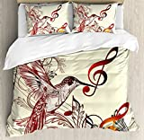 Ambesonne Hummingbirds Duvet Cover Set, Flying Bird Musical Notes Clef Musical Ornate Design, Decorative 3 Piece Bedding Set with 2 Pillow Shams, King Size, Black Ivory