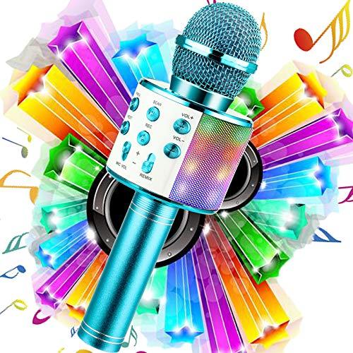 WDERNI Wireless Karaoke Microphone Bluetooth, 3 in 1 Wireless Portable Handheld Mic Karaoke Machine for Christmas Home Birthday Party, Voice Disguiser Karaoke Microphone for Kids(Blue-LED)