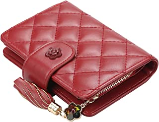 URBIUTF PU Leather Wallet for Women Small Tassel Card Holder Cute Flower Bifold Wallet with Crystal, Wine Red