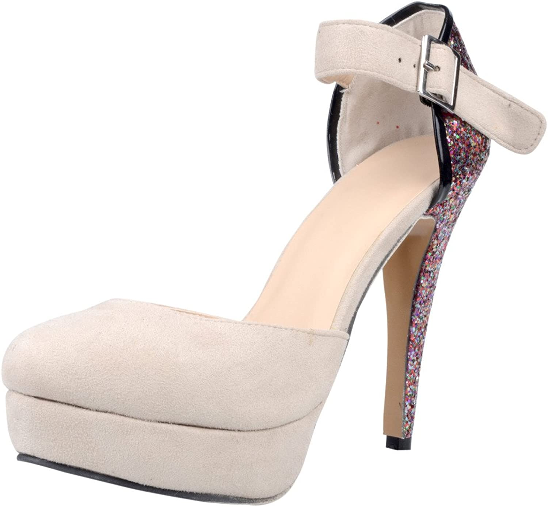 Calaier Womens Carule 2016 Designer Luxury Stylish Super High Heel Round Toe 12CM Stiletto Buckle Pumps shoes