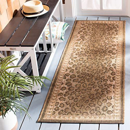 Safavieh Courtyard Collection CY6100-39 Teppich, rund, für Innen- und Außenbereich, Naturfarben/goldfarben Modern 2'3