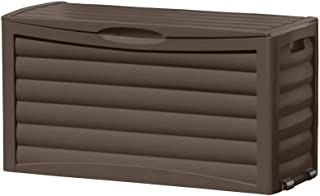Suncast 63 Gallon Patio Storage Box - Water Resistant Outdoor Storage Container for Patio Furniture, Pools Toys, Yard Tools - Store Items on Deck, Porch, Backyard - Brown