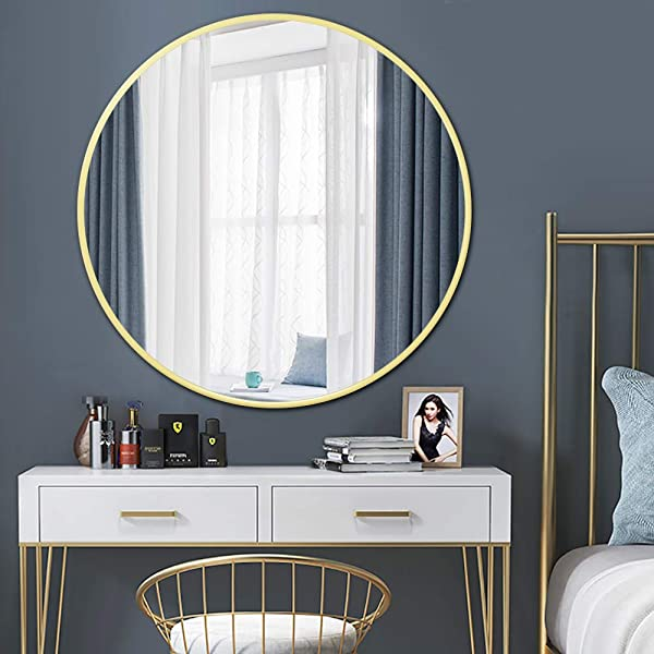 PexFix 30 Large Round Mirror Iron Art Frame Wall Mounted Mirror Dressing Mirror For Wall Decor Bedroom Bathroom Living Room Vanity Golden