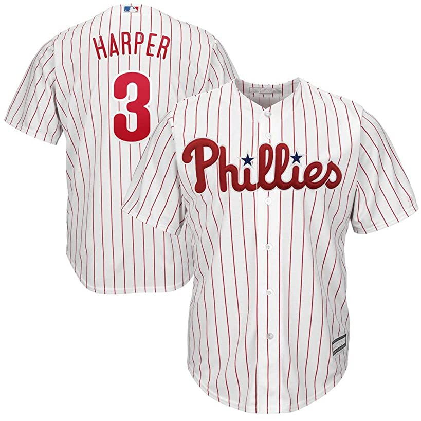 Mitchell & Ness #3 Bryce Harper Philadelphia Phillies Home Cool Base Player Jersey - White Scarlet