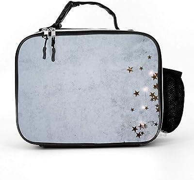 Mesllings - Fiambrera de piel desmontable y duradera con aislamiento de hormigón, color gris, para la oficina, picnic, playa, para niños o adultos