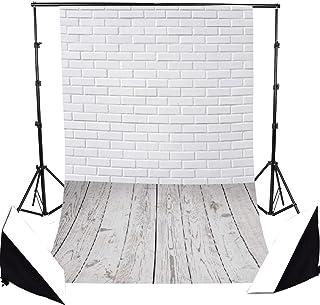 FLORATA Fotohintergrund, 100 % Vinyl, Ziegelholz, Boden, Holz, Wand, Fotografie Hintergrund für Studio Foto Requisiten, 0,9 x 1,5 m