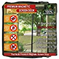 TheFitLife Magnetic Screen Door - Heavy Duty Mesh Curtain with Full Frame Velcro and Powerful Magnets that Snap Shut Automatically -