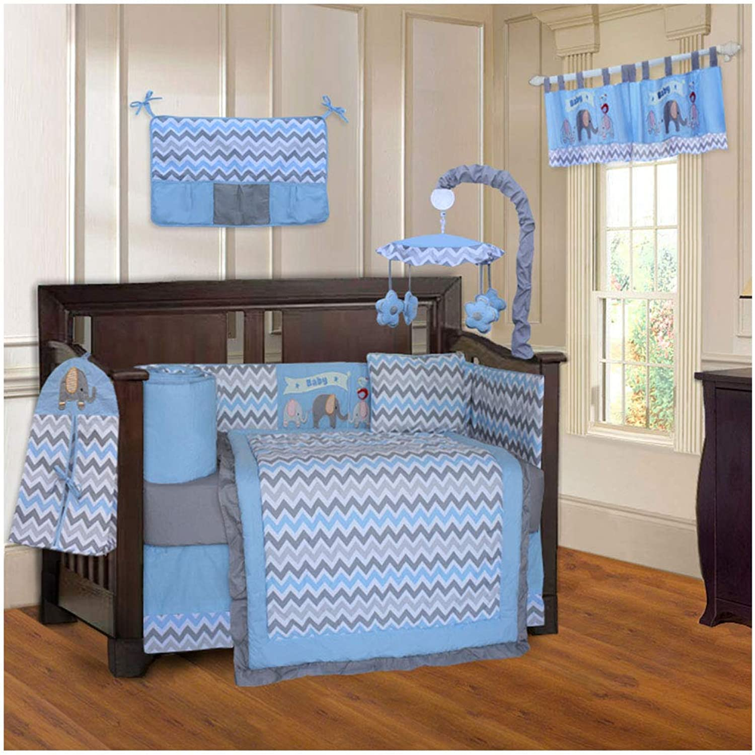 BabyFad Elephant Chevron bluee 10 Piece Baby Crib Bedding Set