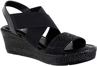 Easy Street Women's Wedge Sandal, Black, 8 us narrow
