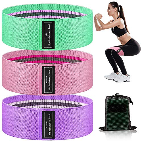 Resistance Bands for Legs and Butt, Exercise Bands, Booty Bands Fabric Resistant Bands Set for Women, Non Slip Hip Bands Elastic Workout Bands, Sports Fitness Band for Squat Glute Hip Training