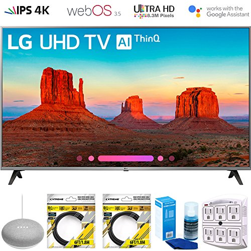 LG 65UK7700PUD 65' Class 4K HDR Smart LED AI UHD TV w/ThinQ 2018 Model (65UK7700PUD) with Google Home Mini, 2X 6ft HDMI Cable, Screen Cleaner for LED TVs & 6-Outlet Surge Adapter