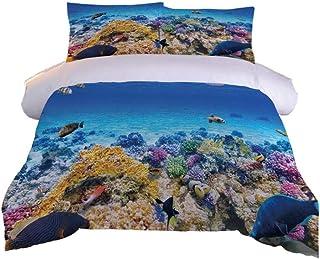 BWBJJ Juego de Funda nórdica con Estampado 3D Peces de mar de Coral Juego de Cama Microfibra Suave 3 Piezas Cubierta de Colcha con Cierre de Cremallera y 2 Fundas de Almohada - 220 x 260 cm