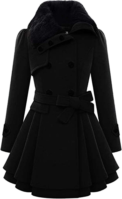 35% OFF ZEFOTIM Womens Winter Lapel Faux Wool Sl Jacket Coat Long Selling rankings Trench