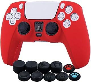 Funda de piel de silicona para Sony PS5 Dualsense Controller x 1 (rojo) con agarres para el pulgar x 10