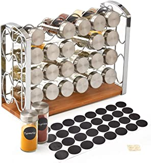 EZOWare 4 Tier Spice Rack with 24 Empty Glass Bottles Jar + Metal Lid and Blank Chalkboard Label Set for Countertops, Cabinets, Kitchen, Pantry - Silver