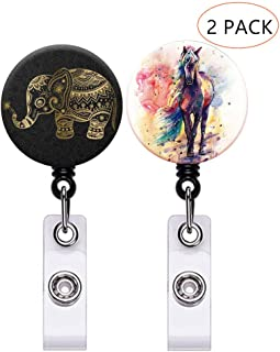 Click Image to Open expanded View Marble Badge Reel Retractable Badge Holder with Alligator Clip ID Card Holder Nursing Badge Reel Holder (Horse Elephant)