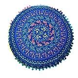 JieGorge - Cojines de suelo con mandala, redondos, bohemios, para decoración del hogar, para el día de Halloween (azul)