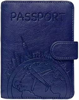 Passport Holder Leather Travel Wallet - RFID Blocking Passport Cover with Magnetic Button for Women Men