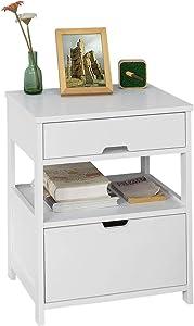 SoBuy® FRG258-W Table de Chevet Bout de Canapé Table d'Appoint avec 2 tiroirs et 1 étagère de rangement – Blanc