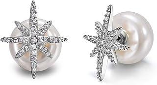 Zealmer Women Rhinestone Star Faux Pearl Ball Stud Earrings