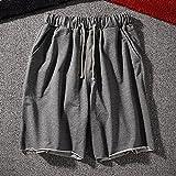 Astemdhj Pantalones Cortos Pantalones Cortos para Hombre Pantalones Deportivos Casuales Rectos Verano Nueva Marca Tide Color Sólido Suelto Elástico hasta La Rodilla L Gris Oscuro