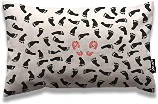 AOYEGO Foot Prints Throw Pillow Cover 12x20 Inch Black White Footstep Red Boot Shoes Rectangle Pillow Cases Home Decorativ...