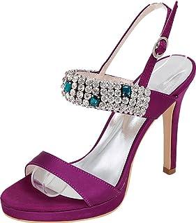 Vimedea Womens Sexy High Stiletto Shiny Rhinestone Sandals Ankle Straps Platform Heeled Wedding Bride Party Dress Open Toe Satin NX5915-34