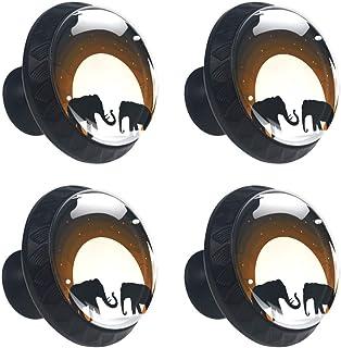 Two Elephant Shadow Under Moon - Juego de 4 pomos para armario de cocina cajones y aparador asas redondas